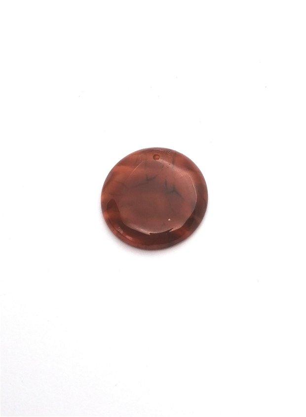 Pandantiv  banut #4 agata naturala 30mm rosu caramiziu