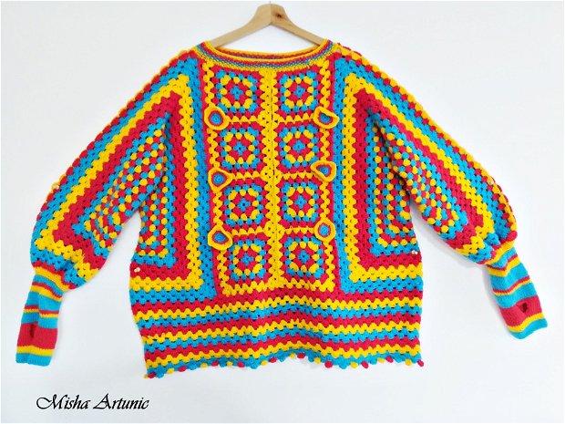 Pulover crosetat si tricotat