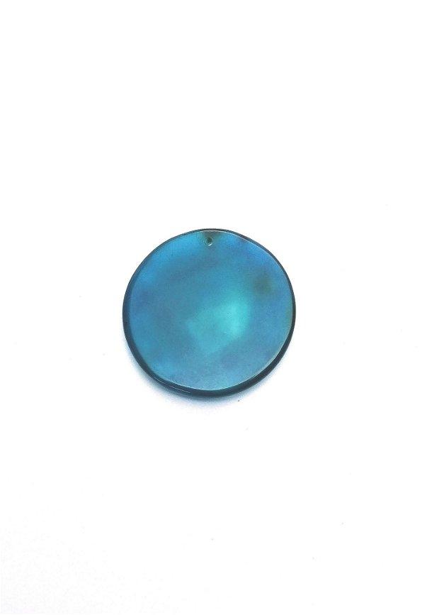 Pandantiv  banut #3 agata naturala 39~40mm albastru