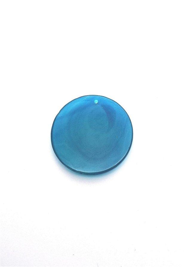 Pandantiv  banut #4 agata naturala 39~40mm albastru