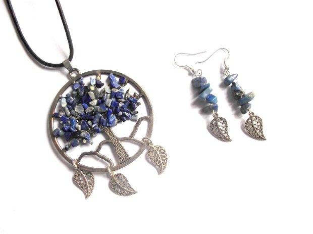 set colier si cercei arborele vietii cu lapis lazuli 38956