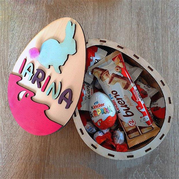 Cutie Ou cu Iepuras - Paste - Personalizata cu NUME