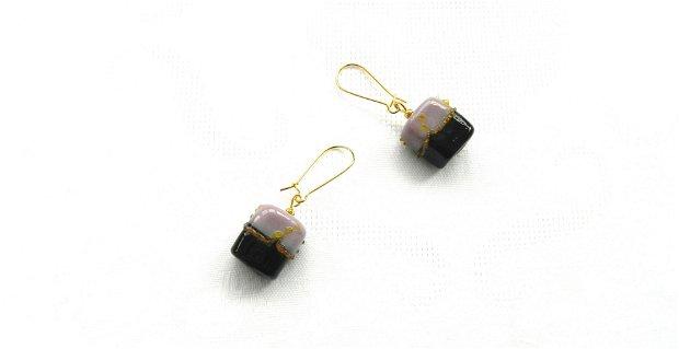 Cercei sticlă lampwork negru-lila