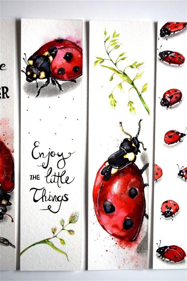 Semne de Carte Buburuze, Ilustratii, Carti, Pictura in Acuarela, Cadou Original, Carte - Nature & Colors Collection