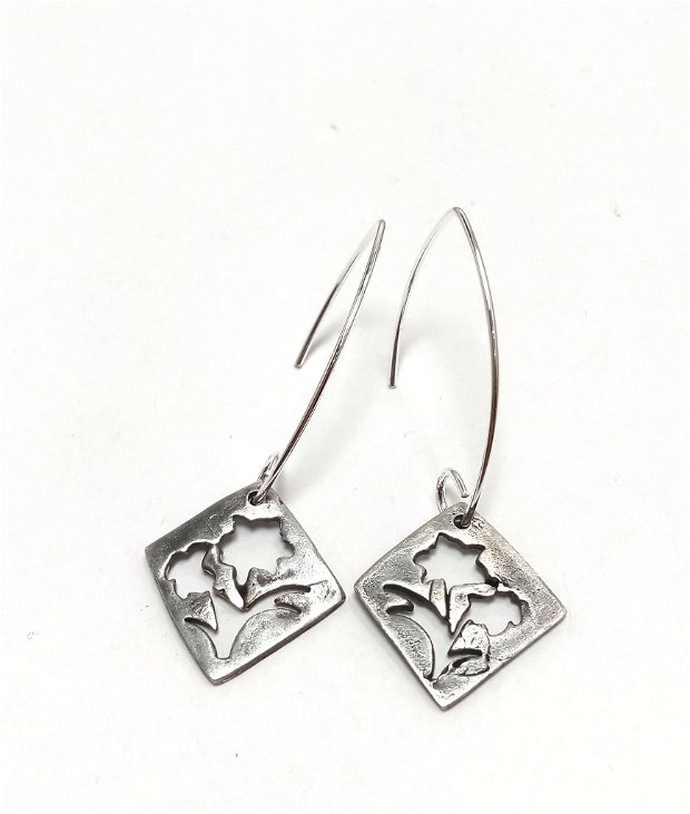 Cercei argint patinat floare