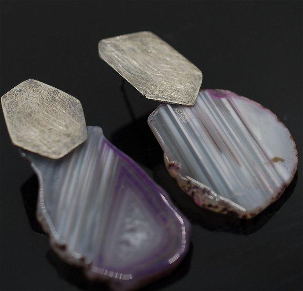 Cercei supradimensionati din argint 925 si agate