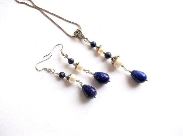 set lapis lazuli si perle natural 38948