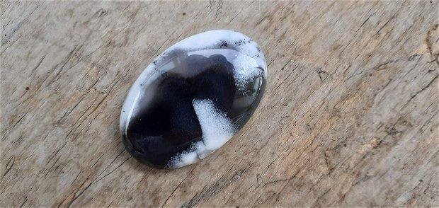 Cabochon opal dendritic, 39x26-27 mm
