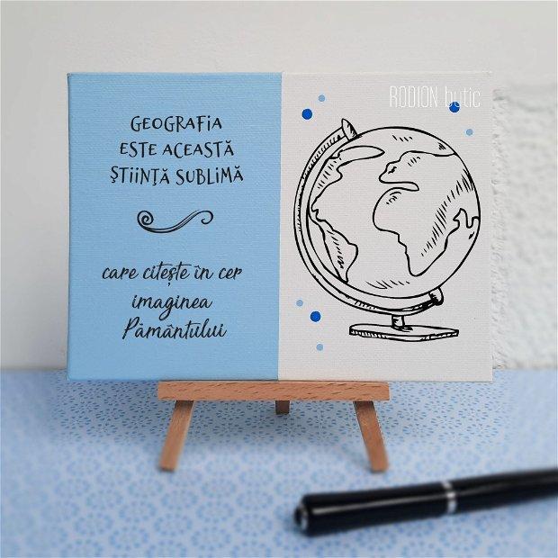 Placuta absolvire geografie pictata personalizata cu mesaj
