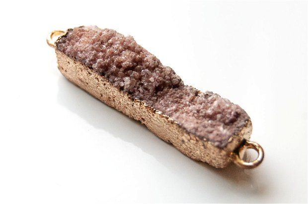 Agat druzy cu  margini electroplacate aur - W1231