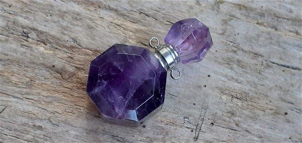 Sticluta/pandantiv din ametist fatetat, pt parfum sau ulei esential - 36x21x14 mm
