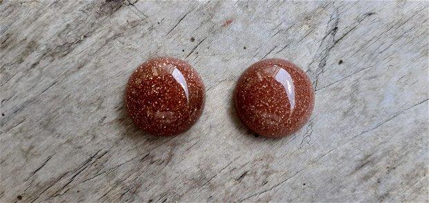 Cabochon piatra soarelui (goldstone), 14 mm (2 buc)