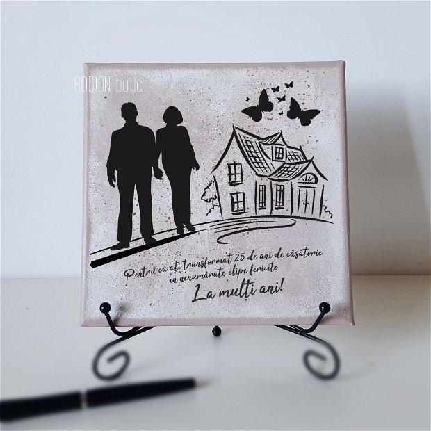 Tablou pictat manual personalizat cu mesaj aniversare casatorie