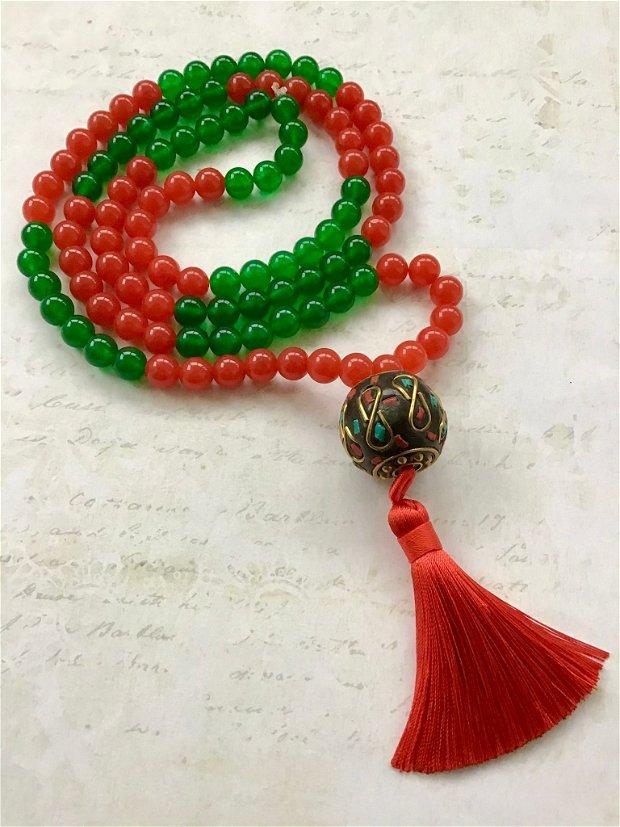 MALA Nepaleza Jad verde & Jad rosu