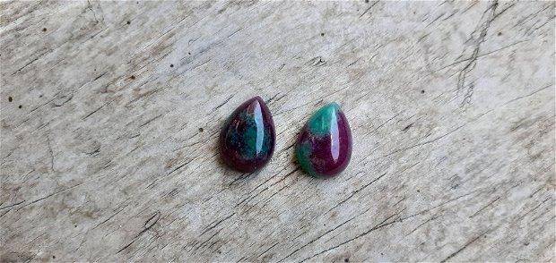 Set cabochoane rubin in zoisit, 12x10 mm