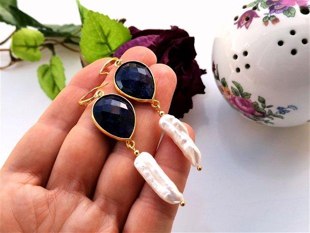 Cercei safir & perle