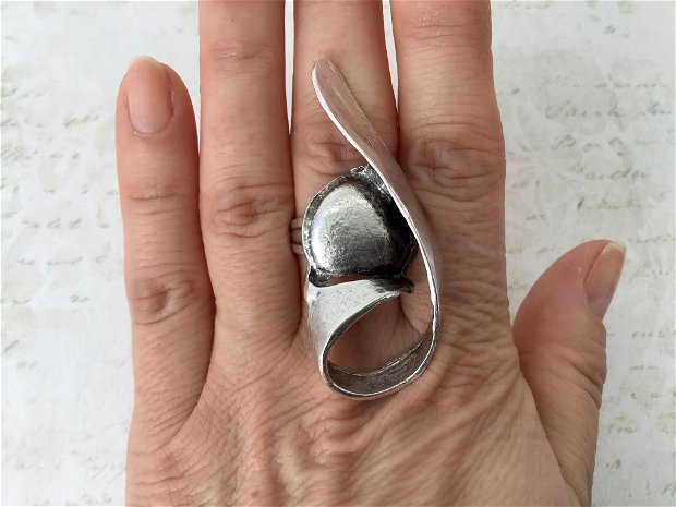 Inel zamac argintat