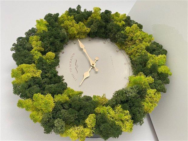 Ceas decorat din licheni stabilizati