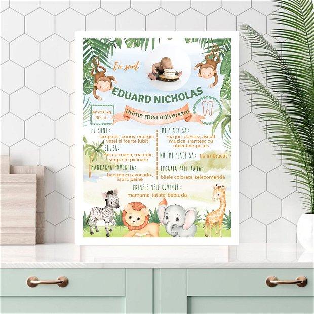 Tablou poster personalizat pentru prima aniversare | Rama bebe 1 an | Safari | Tema jungla si animale