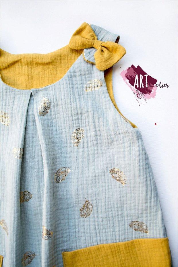 Rochita copii, vaporoasa, de vara, din muselina dubla - menta cu pene aurii