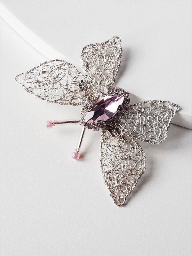 Brosa Fluture mic si roz