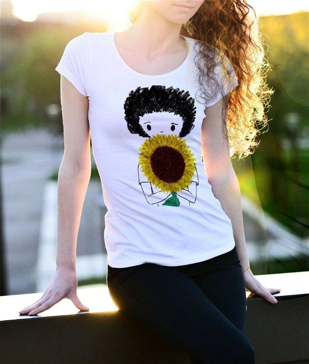 Tricou Zburlita cu floarea soarelui - pentru Ea