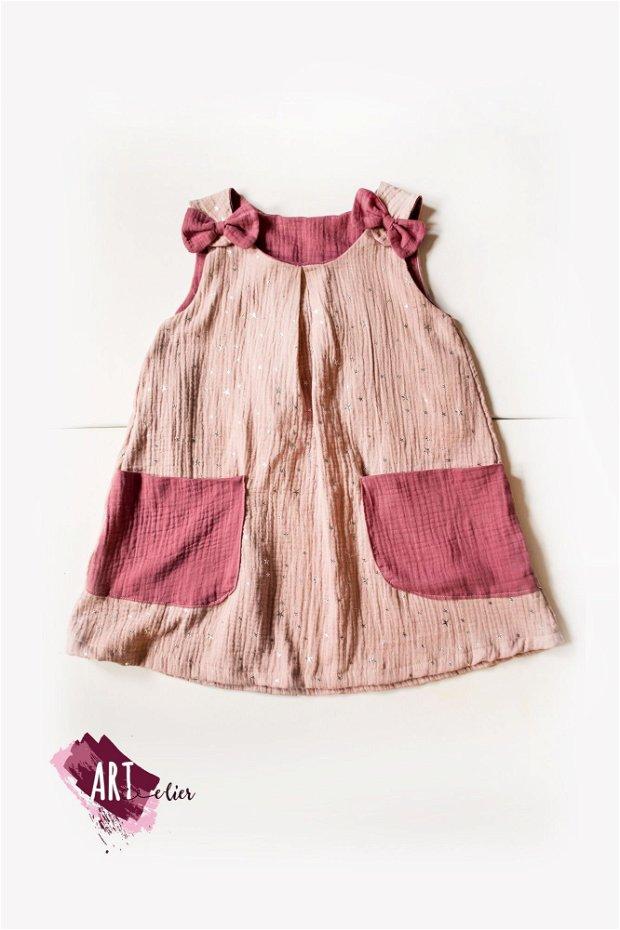 Rochita copii, vaporoasa, de vara, din muselina dubla -roz pudra cu stelute argintii