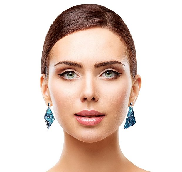 "Cercei asimetrici ""Irresistible Turquoise"" (argint+pigmenti)"