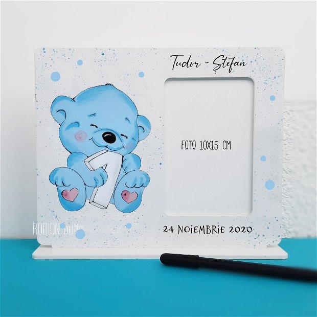 Rama foto personalizata cu nume ursulet pictata manual