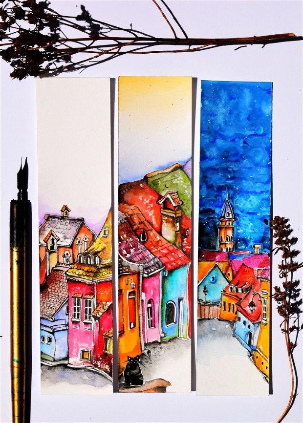 Semne de Carte Sighisoara, Ilustratii, Carti, Pictura in Acuarela, Cadou Original, Carte - Nature & Colors Collection