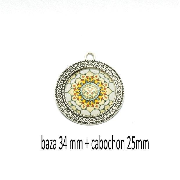 Kit pandant cu cabochon print, KB414
