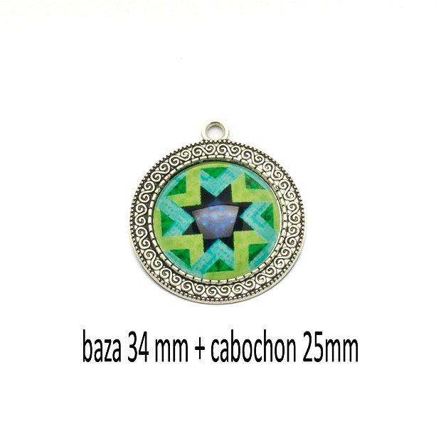 Kit pandant cu cabochon print, KB417