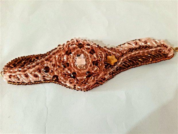 Brățară din cristale roz somon
