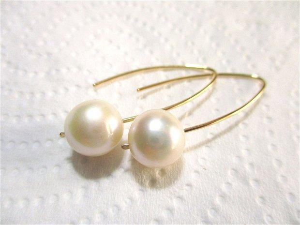 Cercei aur filat 14k si perle de cultura alb aurii, cu tija lunga