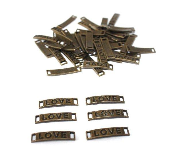Conector, link bronz antic - LOVE