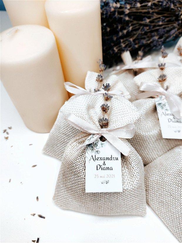 Mărturii nuntă săculeți din iuta cu lavandă uscată, handmade, Kandor Special Gifts