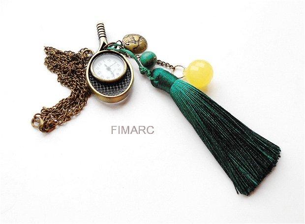 ''Tenis''-  colier din lant cu ciucure si ceas functional
