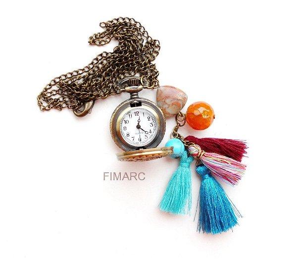 ''Asia''- colier din lant cu ciucuri si ceas functional