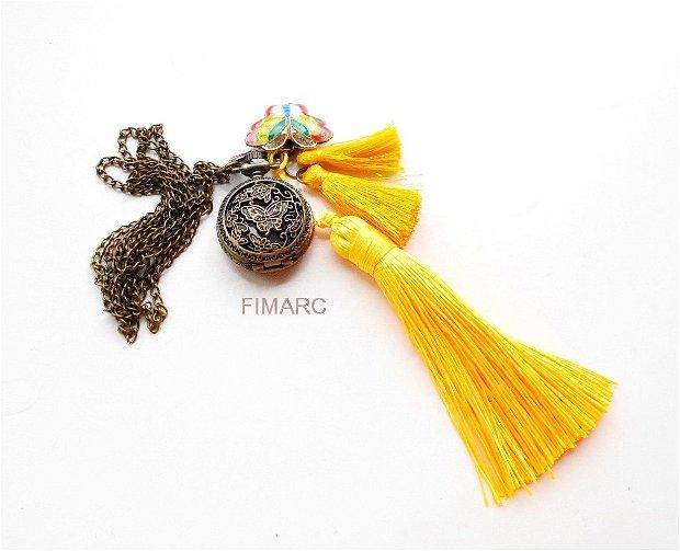 ''Lemon Butterfly''-  colier din lant cu ciucuri si ceas functional