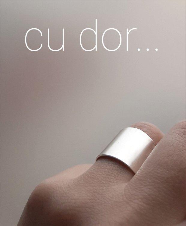 Inel lat/verighetă din argint 18 mm cu mesaj personalizat
