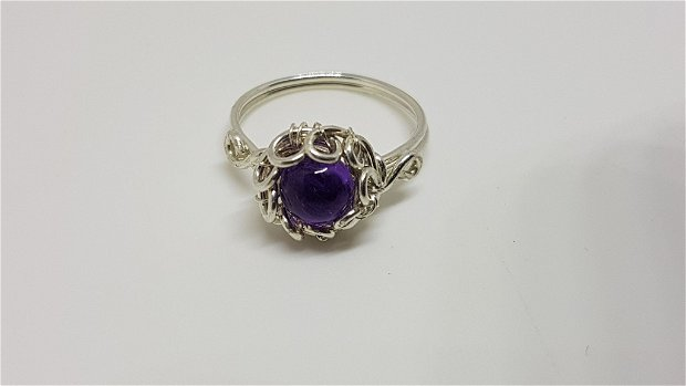 Inel din argint , inel cu ametist , inel handmade.