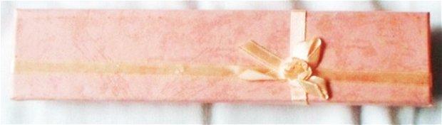 Cutie bijuterii cadou pentru colier/bratara roz cu fundita roz
