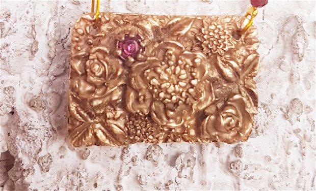 set de autor, gradina cu flori, vintage, baroc, compus din colier, cercei si inel, din bronz auriu, gramate, turmalina si mărgele japoneze