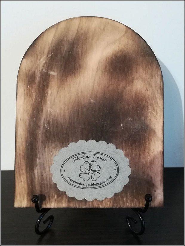 D0297 # Icoana pe lemn (placaj), Fecioara cu Pruncul Isus, 20x15x1cm