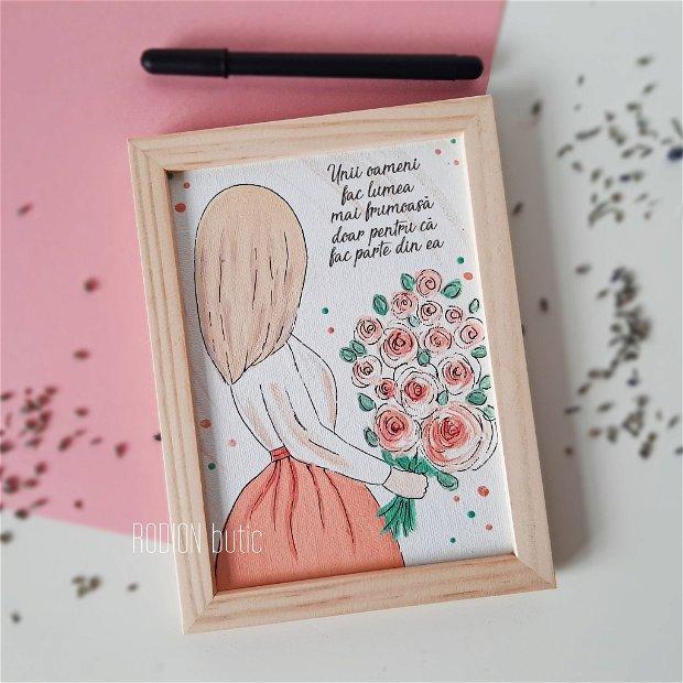 Cadou educatoare placuta pictata manual personalizat cu mesaj