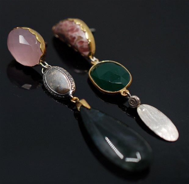 Cercei asimetrici din argint, jasp, cuart roz,  agata verde si agata muschi, cercei lungi argint, cercei statement, cercei handmade