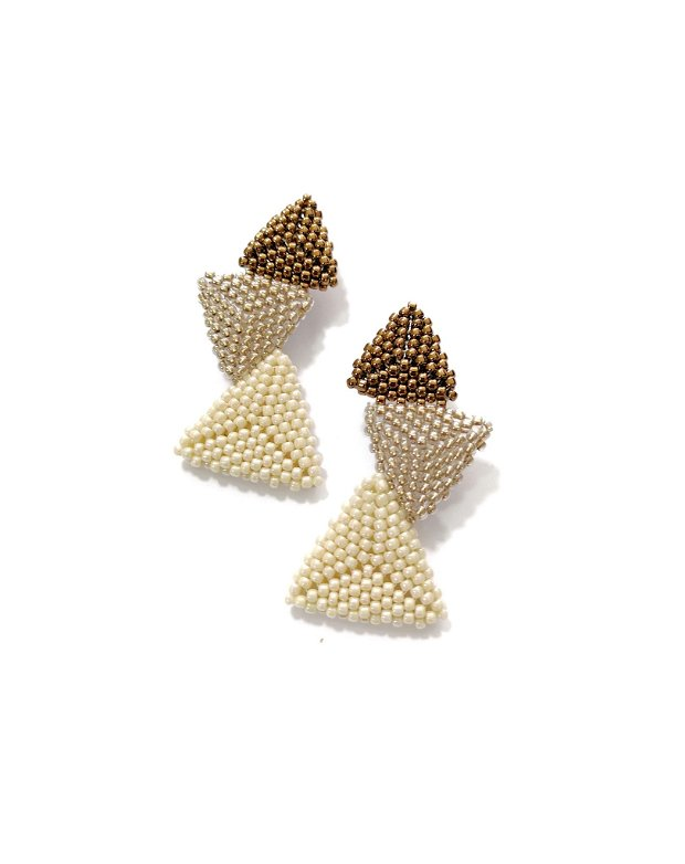 Cercei triunghi asimetrici, ivoar, bronz