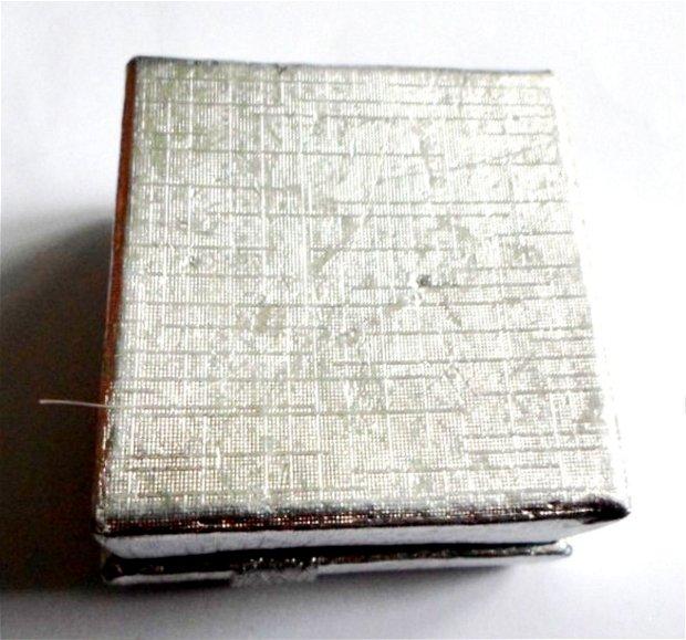 Cutie bijuterii cadou inel argintie cu banda si fundita argintii