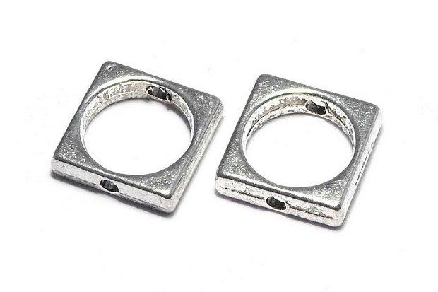 Link metalic, argintiu antichizat, 11x11 mm