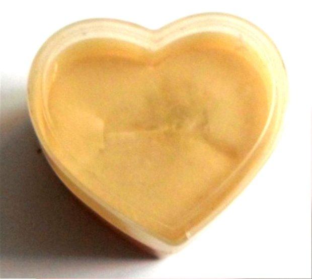 Cutie bijuterii cadou pentru inel inima galbui cu capac alb transparent  4,5 cm